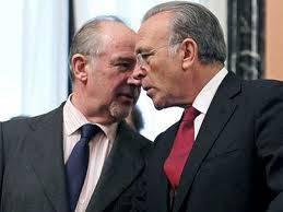 Isidre Faine, presidente de Caixabank y Rodrigo Rato, presidente de Bankia