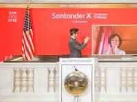 Presencia telemática de Ana Botín en la Bolsa de Nueva York.